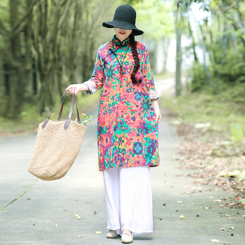 2018 Autumn New Style WOMEN'S Dress Large Size Loose-Fit Ethnic-Style Stand Collar Frog Cotton Linen Printed Long-sleeved Dress