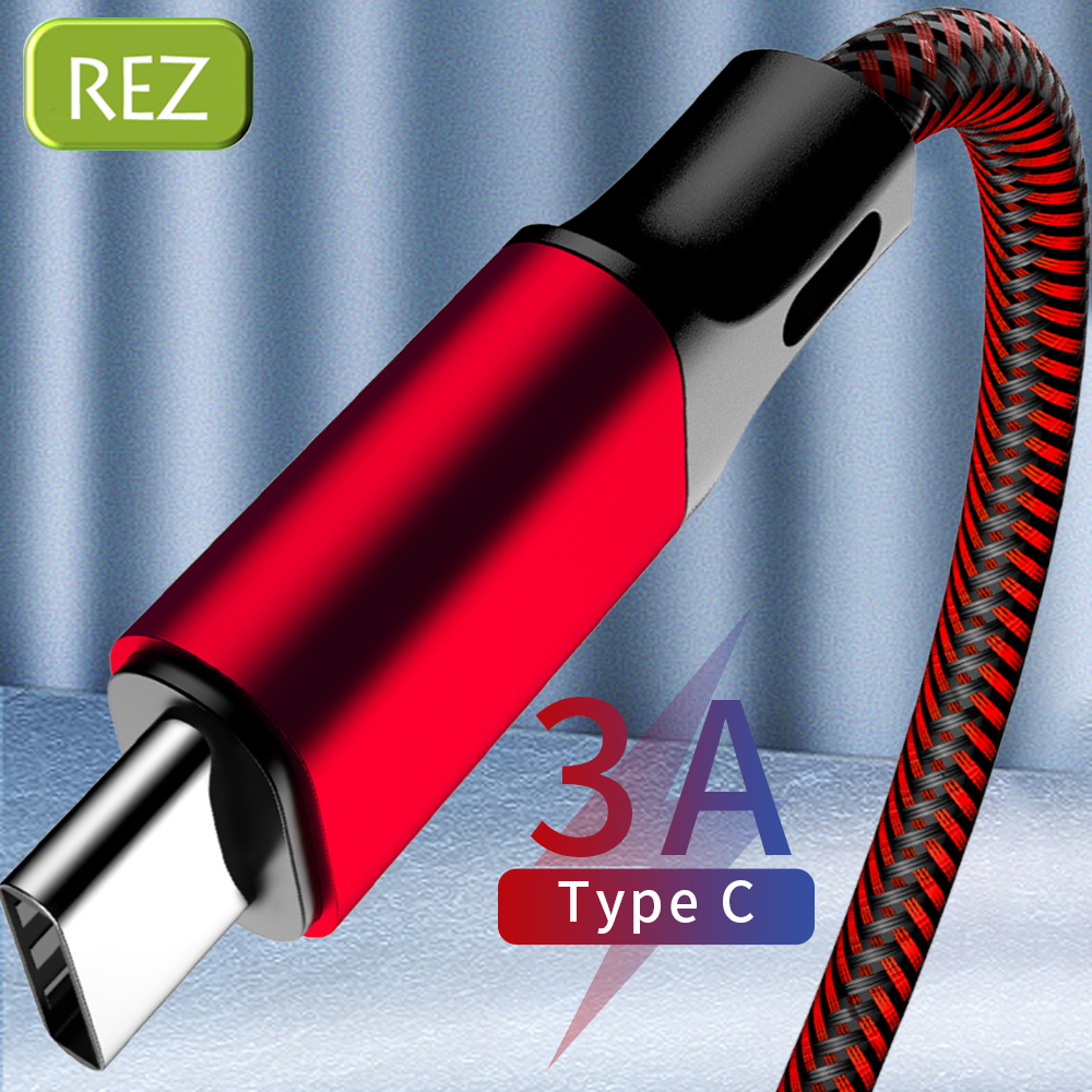 REZ USB Type C Cable to A For Samsung S10 S9 S8 Red Fast Charging Type-C kabel Usb Data Wire USB-C провод кабель