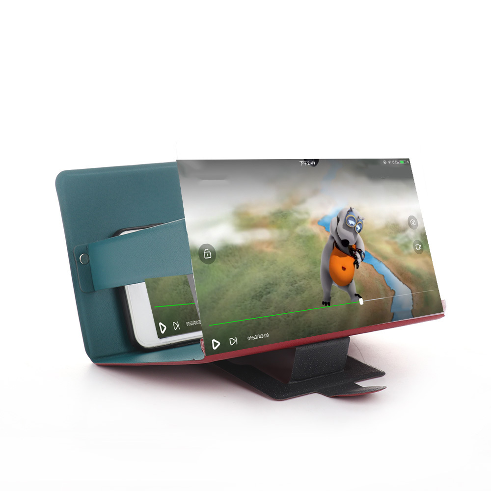 3D Phone Screen Magnifier Stereoscopic Amplifying Desktop Foldable Leather Bracket Mobile Phone Holder Tablet Holder