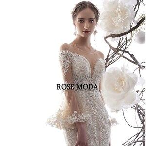 Image 4 - ローズモーダ見事なロングスリーブレースマーメイドウェディングドレス 2020 の Beadings 自由奔放に生きるウェディングドレスカスタム