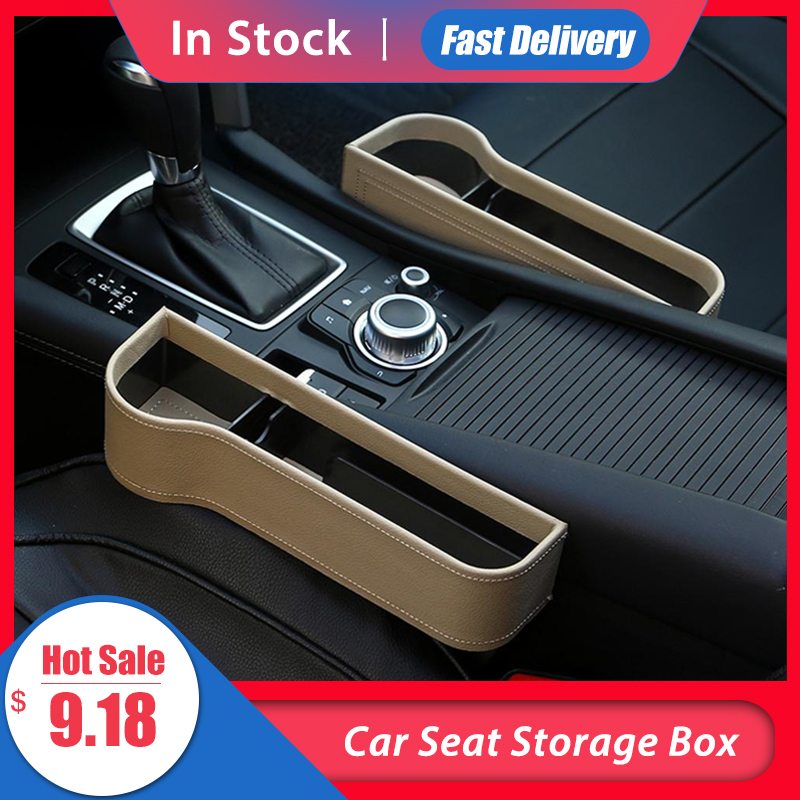 Car Seat Gap Storage Box Cup PU Leather Pocket Catcher Organizer Phone Bottle Cups Holder Multifunctional Car Accessories