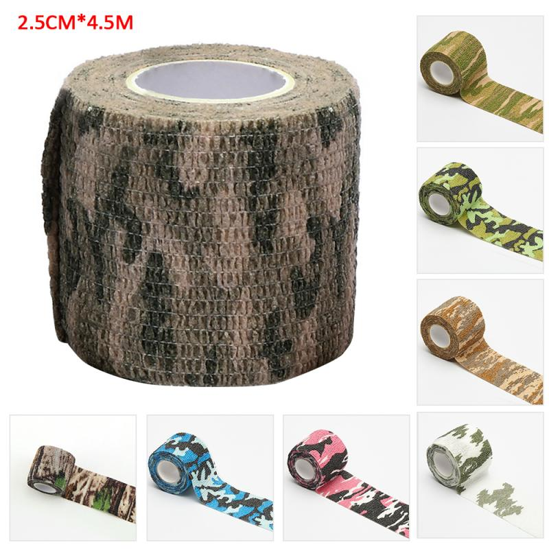 Outdoor Camouflage Non-woven Self-adhesive Elastic Bandage 2.5CM X 4.5M Camouflage Waterproof Multi-functional Bandage