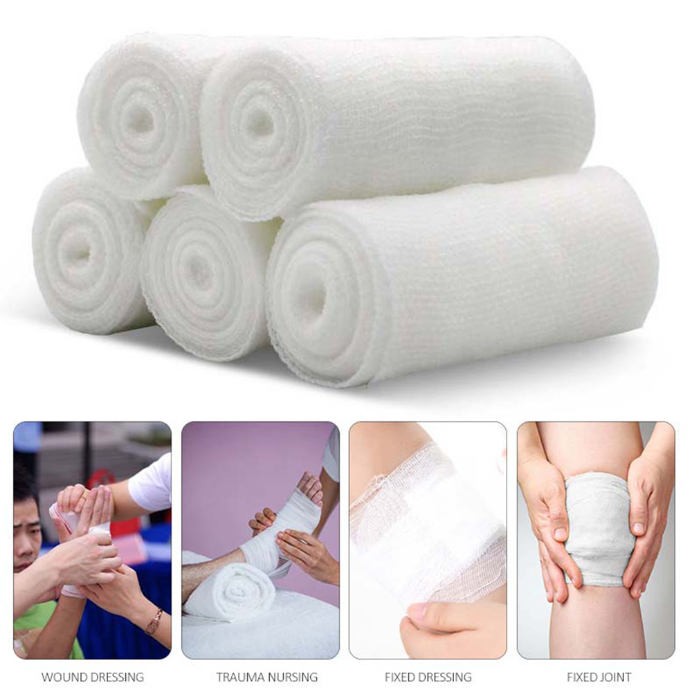 5 Rolls Disposable Gauze Bandage Roll Breathable Medical Bandages Wrap Stretched For Wound Care PBT Material
