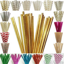 New 25pcs/lot Foil Paper Straws For Kids Birthday Party Wedding Decorations Bachelorette Drinking Event Supplies