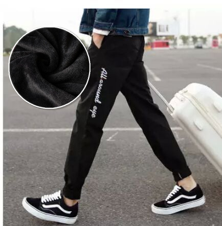 Teenager BOY'S Casual Pants Middle School Students Winter Men's Plus Velvet Men's Trousers Sports Pants Length Pants