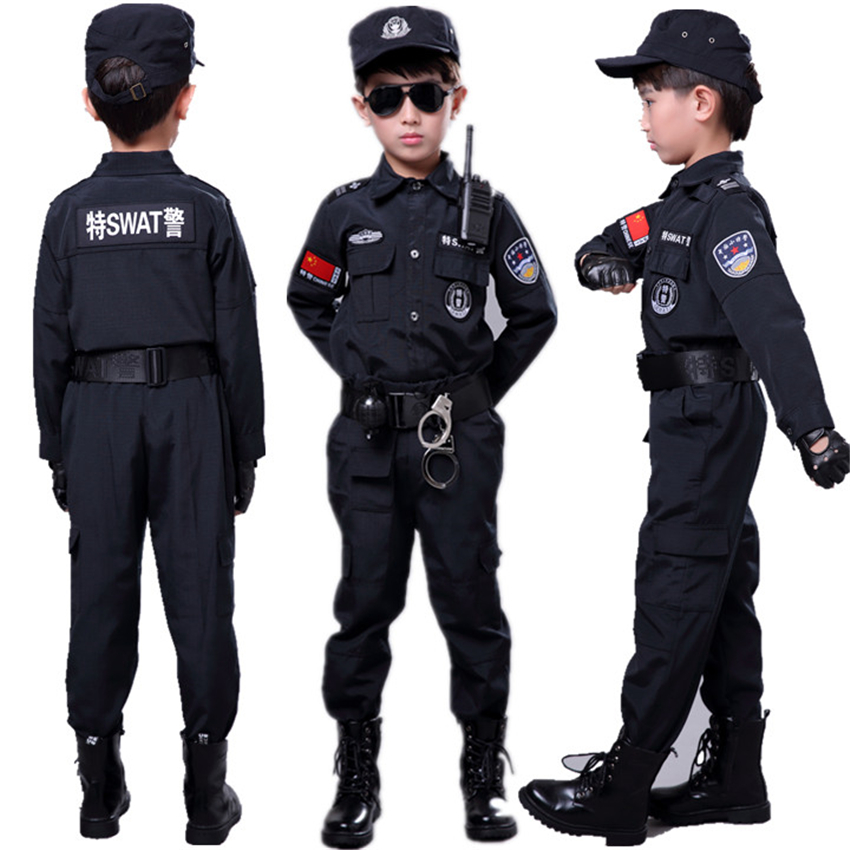 Boys Halloween Special Policemen Cosplay Costumes Children Fancy Military Army Suit Children's Day Gift Kids Party Wear