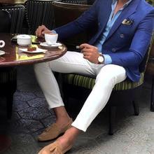Men Suits Pant Costume Blazer Business-Suit Blue-Jacket Lapel Royal-Blue White Wedding-2pieces