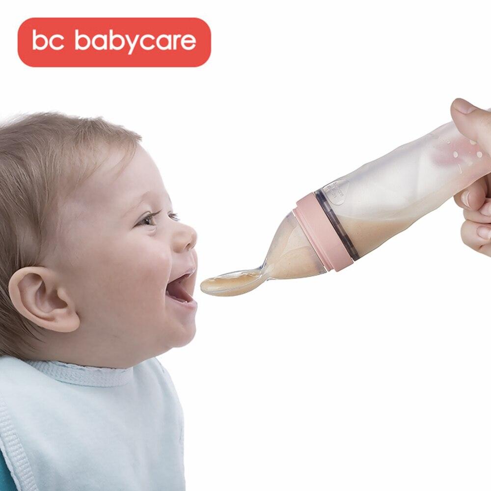 BC Babycare Silicone bébé serrant cuillère d'alimentation infantile complément alimentaire bouteille légumes fruits riz céréales compte-gouttes mangeoire cuillère