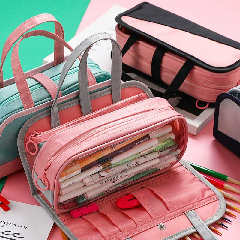 Super Multifunctional Pencil Box Big Capacity Pencil Case Fabric Canvas Pouch Pencilcase School Supplies For Girls Stationery