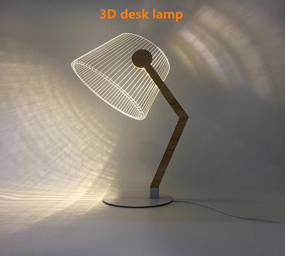 HZFCEW USB Power 3D Effect Stereo Vision LED Desk Lamp Wood Support Acrylic Lampshade LED Light Office Bedroom Reading Lamp