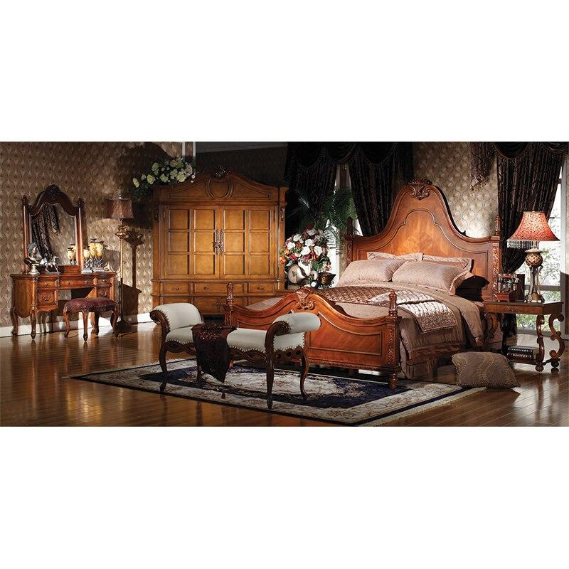 Cama europea de 1,8 m, cama doble tallada de madera sólida americana, muebles de lujo para dormitorio, Madeira, m, superficie esculpida, cama de casal GH209 4 pósteres de cama rosa, dosel para cama de princesa Queen, mosquitera, tienda de cama, cortina de cuatro esquinas de largo hasta el suelo de 1,5x2 m # WW