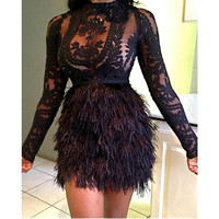 See Through Lace Top With Faux Fur Skirt Set Women Black Mesh Long Sleeve Tops Two Piece Set Sexy Party Club Outfits