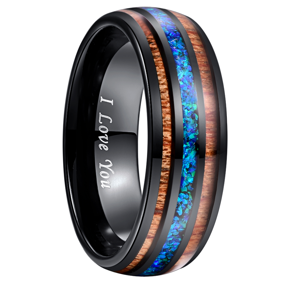 8mm luxe noir carbure de tungstène anneau bleu opale incrusté bois hommes femmes mariage Bague de fiançailles Bague Homme