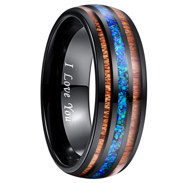 8mm יוקרה שחור טונגסטן קרביד טבעת כחול אופל שיבוץ עץ גברים נשים חתונת אירוסין טבעת Bague Homme