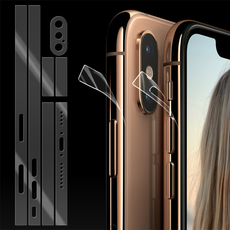 2Pcs Mobile Phone Side Film Transparent For Iphone11 Promax 8 8plus Xs XSMAX XR Rim Protective Film Ultra-thin TPU Hydrogel Film