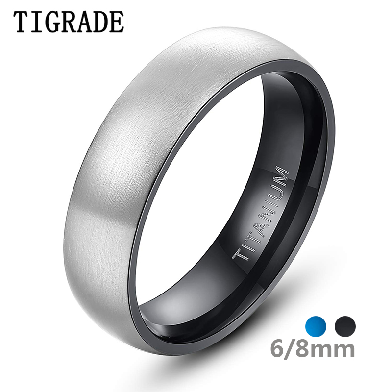 Tigrade Titanium Ring For Man Silver Color 6mm Wide Black, Blue Inside Unisex Wedding Engagement Band Female Male anillo hombre
