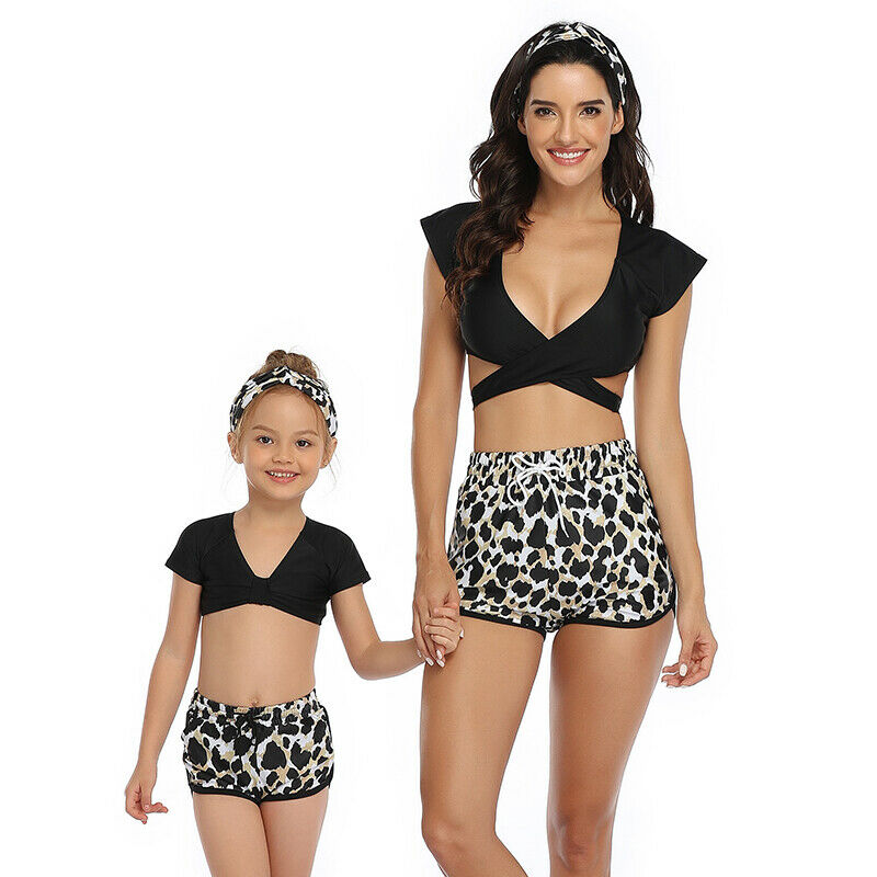 Matching Family Mother Girl Bikini 2020 Summer Swimsuit Swimwear Women Swimsuit Children Baby Kid Beach Swimwear Biquini 3Pcs