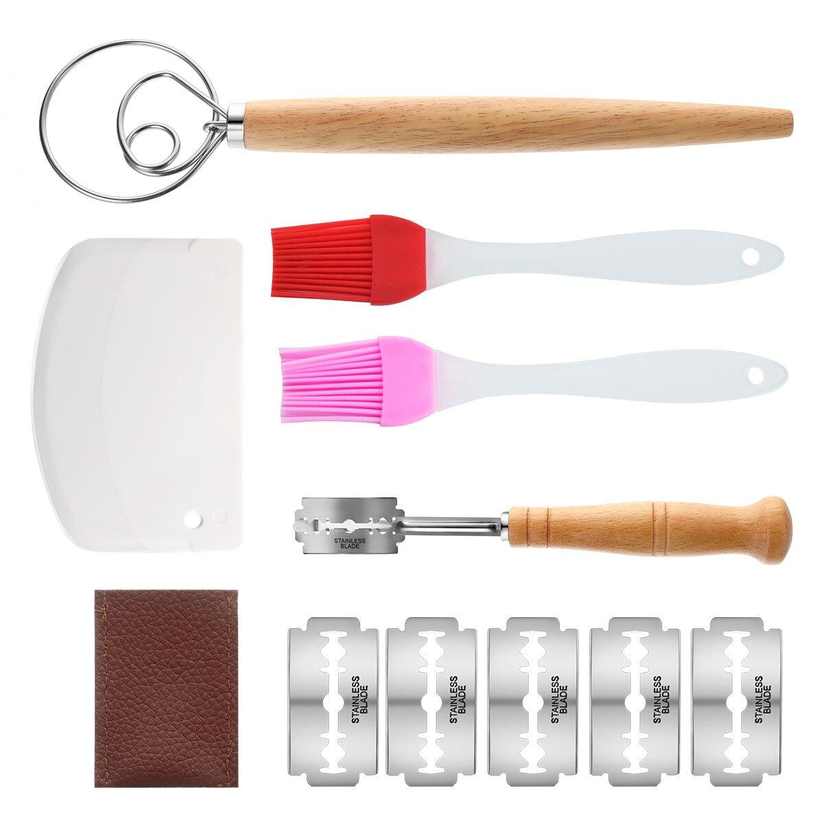 Ensemble doutils de boulangerie panier à pain et Lame à pain Toos et grattoir à pâte comprennent 11 pièces/ensemble de lames panier à levain