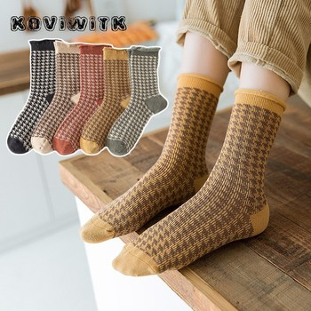 Casual Women Houndstooth Pattern Cotton Short socks black Winter square Stylish Lattice Striped sock Warm Print Fashion lady Sox winter comfortable cotton socks stylish casual white women x27s breathable short blend elastic warm wear resistant lady thermal