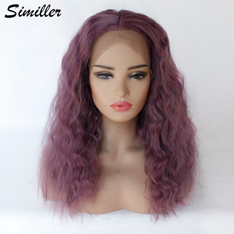 Similler Lace Front Synthetic Hair Wigs Dark Purple Mixed Color Curly Medium L Part Lace Wig For Women