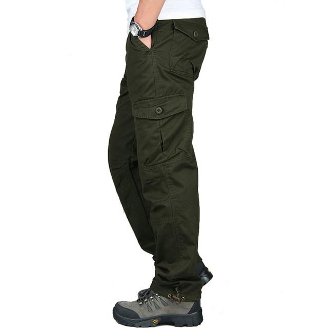 New 2019 Men Cargo Pants Multi Pockets Military Tactical Pants Men Outwear Streetwear Army Straight Slacks Casual Long Trousers 2