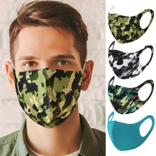 Printed Mask Washable-Mask Camouflage Reusable Fabric Dust-Proof Face Ice-Silk Colorful
