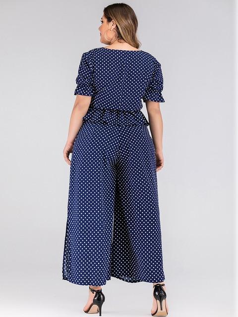 2020 summer plus size jumpsuit for women large short sleeve loose casual dot V neck long jumpsuits belt blue 3XL 4XL 5XL 6XL 7XL 3