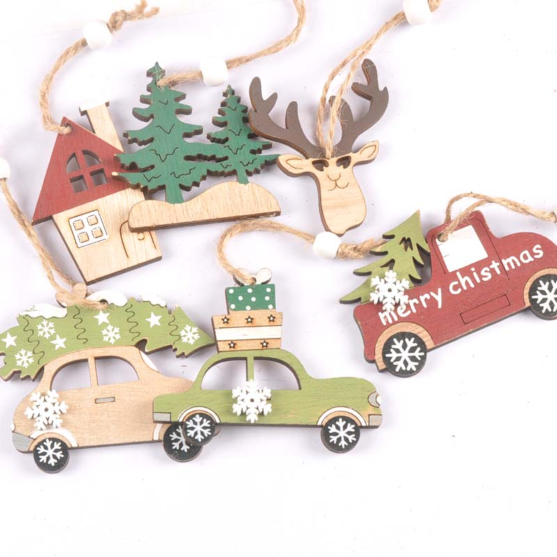 3Pcs Wood Car/tree Pattern DIY Crafts Scrapbooking Christmas Wooden Hanging Pendants Gifts Christmas Tree For Home Decor M2539