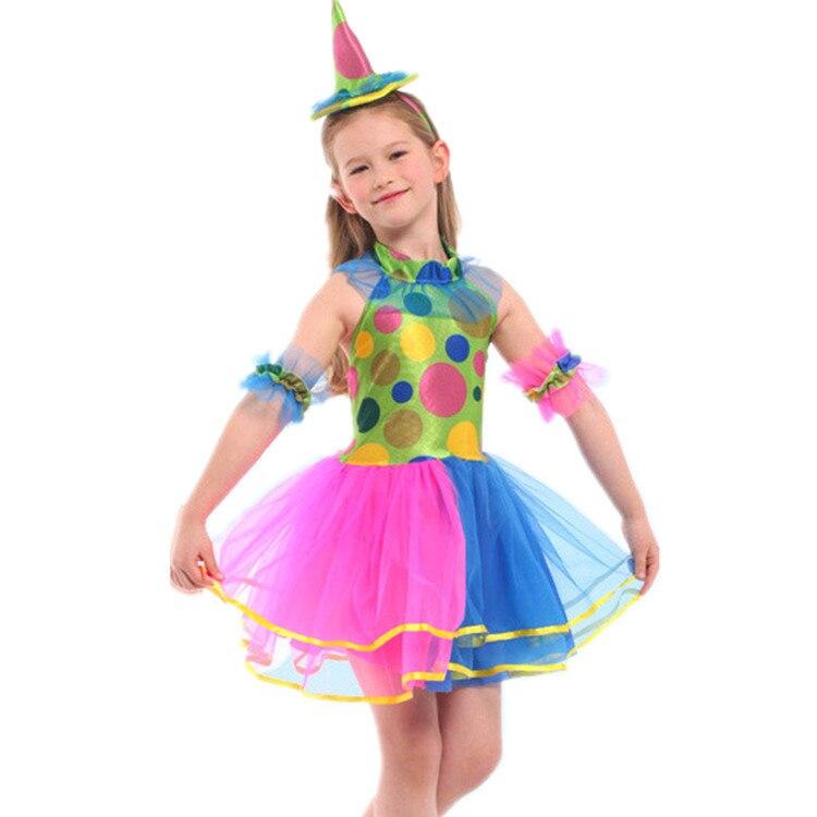 Halloween CHILDREN'S DAY Performance GIRL'S COS Clown Dressing Up Makeup Ball Clown Set School Activity Costume