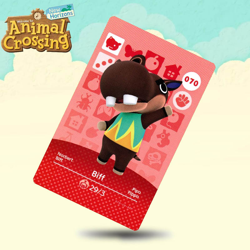 070 Biff  Animal Crossing Card Amiibo Cards Work For Switch NS 3DS Games
