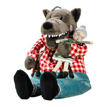 Free shipping 45cm Lufsig new plush Grandma wolf / 30cm Little Red Riding Hood toy stuffed and grandma doll gift