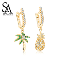 SA SILVERAGE Female Asymmetric Pineapple S925 Sterling Silver Earrings Woman Simple Oasis Original Design