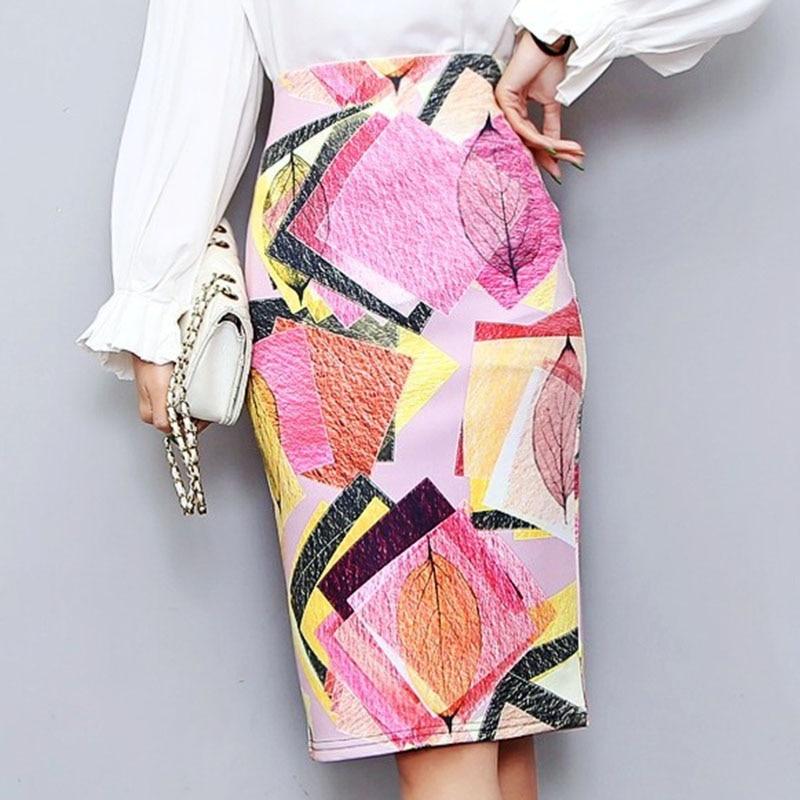 Bonjean Women's Pencil Skirt New Cartoon Print High Waist Slim Skirts Young Girl Summer Large Size Japan Female Falda