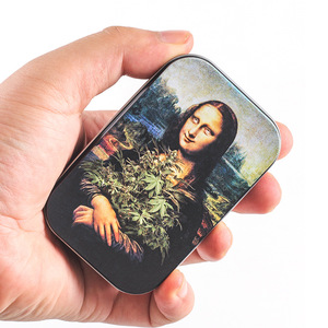 Mona Lisa Print Hold 20pcs Cigarette Metal Case Cover Man Women Portable Pocket Cigarettes Pack Box Smoking Tobacco Holder Gift