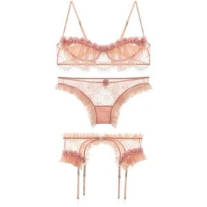 Image 5 - Luxury Pajamas for Women Sleepwear Petals Flowers Lace Sexy Tops Panty with Garter Suspenders Lingerie Set Home Clothes