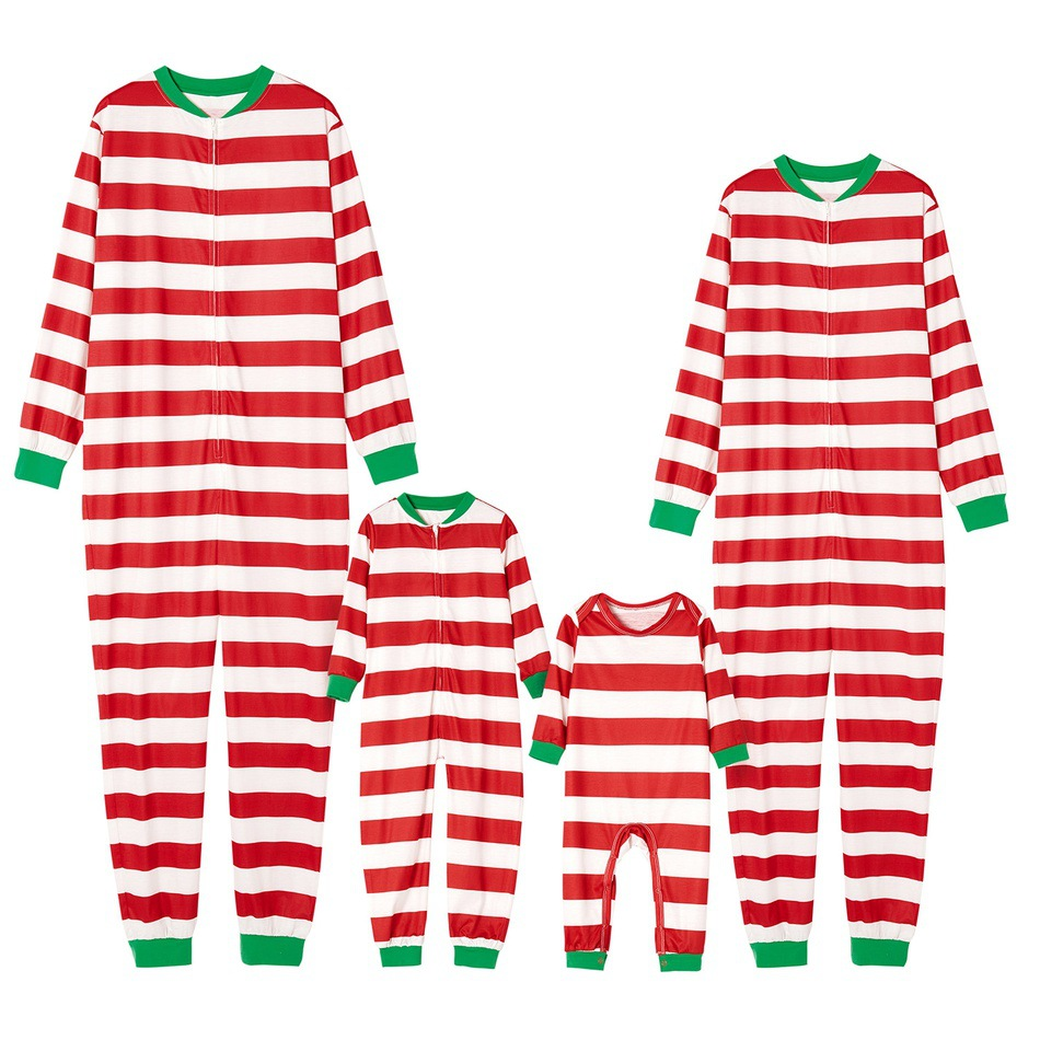 Family Look Striped Matching One-Piece Christmas Pajamas Mommy Dad and Me Sleepwear Clothes Father Mother Kid & Baby's Pyjamas
