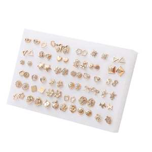 18/36pairs Fashion Mix Style Gold Color Rhinestone Crystal Flower Stud Earings Set For