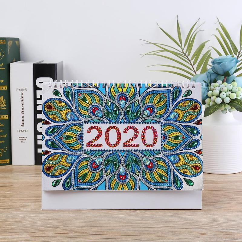 DIY Drill Calendar 2020 Mandala Special Shape Diamond Painting Schedule Planner Table Ornament Home Bedroom Decoration Craft