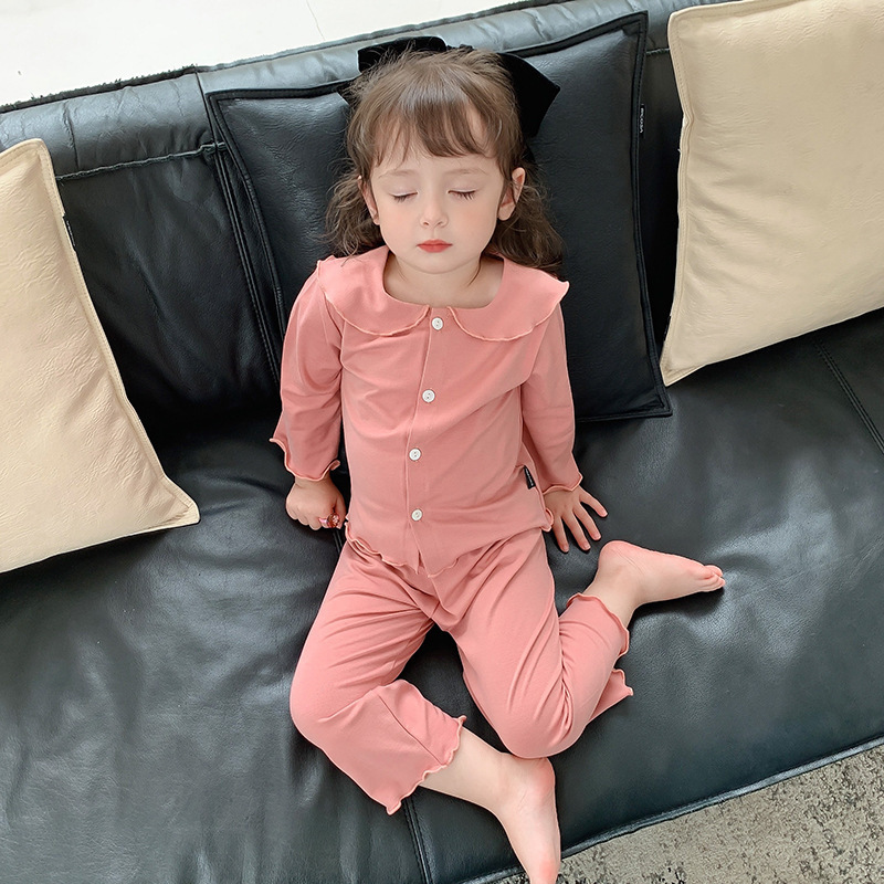 New Product Solid Color Cotton Baby Pajamas Set For Boys, Cotton Boy Pajamas Set, Autumn Girl Long-sleeved Underwear Top + Pants