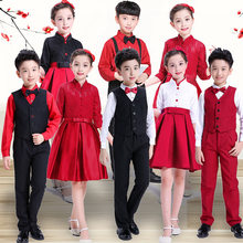 Kids Stage Dance Costumes Party Wear Girls Princess Formal Tutu Dresses Boy Vest Children Host Clothing Set Performance Uniforms(China)