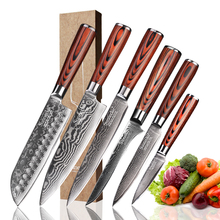 SUNNECKO 6PCS Kitchen Knives Set Santoku Utility Paring Chef Knife 73 Layers Damascus Steel Slicer Cutter Tool Pakka Wood Handle