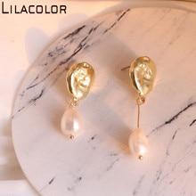 Lilacolor Pearls Vintage AB Asymmetric Women Drop Earrings S925 Silver Pins Metal Dangle Earring Ear Fashion Jewelry Accessories
