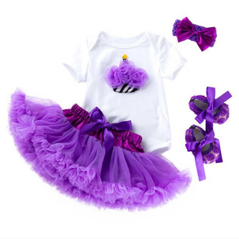 Платье-пачка принцессы для маленьких девочек комплект одежды на день рождения для маленьких девочек, белый комбинезон + фиолетовое Кружевное платье-пачка + повязка на голову + обувь, комплект из 4 предметов