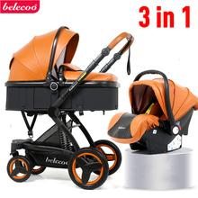 Belecoo Luxury Baby Stroller 3 in 1 Carriage High Landscape Pram