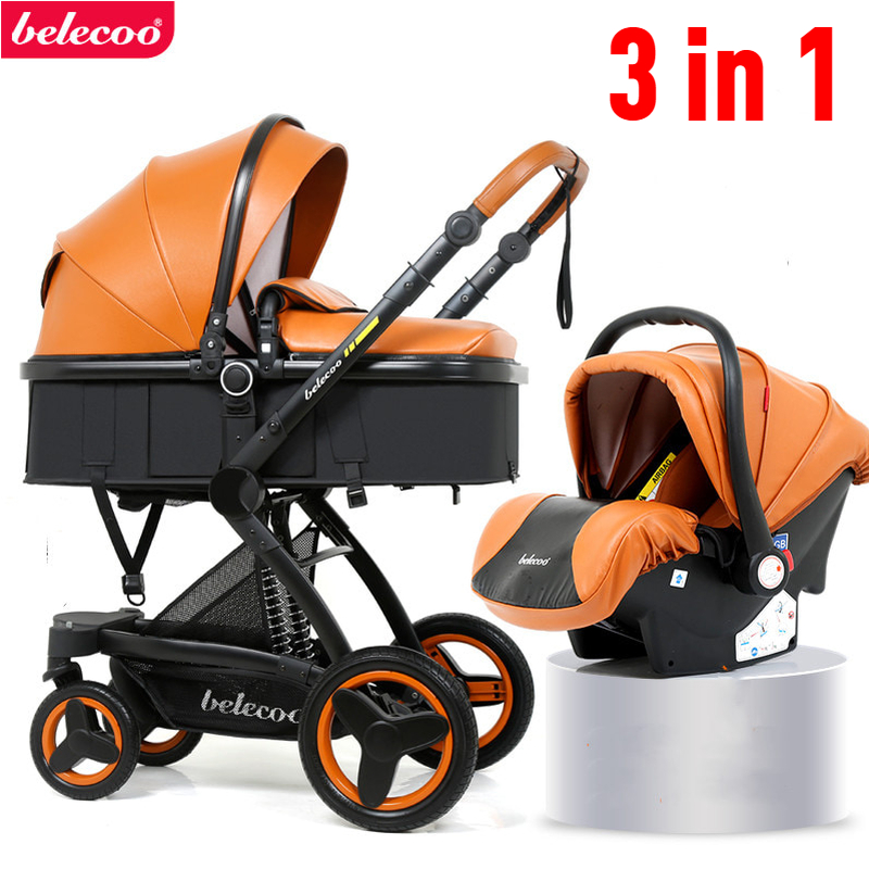 Belecoo Luxury <font><b>Baby</b></font> Stroller <font><b>3</b></font> <font><b>in</b></font> <font><b>1</b></font> Carriage High Landscape <font><b>Pram</b></font> Travel System Stroller 2 <font><b>In</b></font> <font><b>1</b></font> Suitable For Lying And Seating image