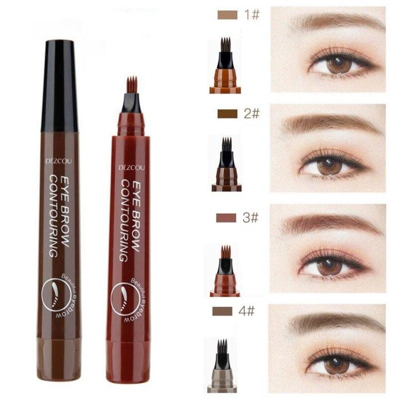 Professional Long Lasting Fine Sketch Liquid Eye Brow Pencil 4 Color Eyebrow Pen Waterproof Fork Tip Eyebrow Tattoo Pencil