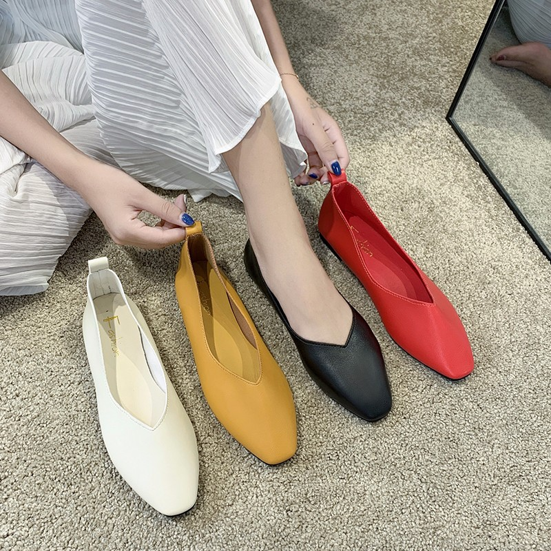 Women's Casual Flats Bailarinas Luxury Brand Shoes Woman Square Toe Ballet Female Boat Shoes Slip-on Maternity Loafers Feminino