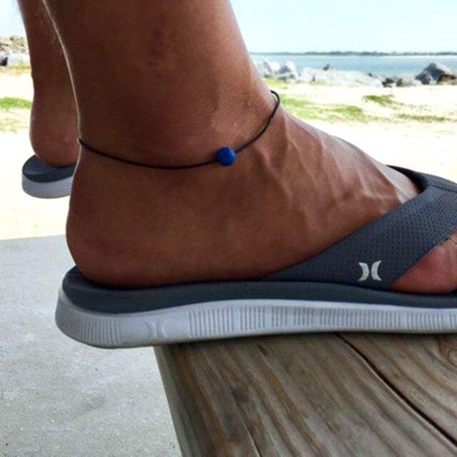 Boho coloré volcanique lave roche cheville bracelets pour femme hommes pierre naturelle peau de vache corde perle chaîne jambe bracelet pied bijoux