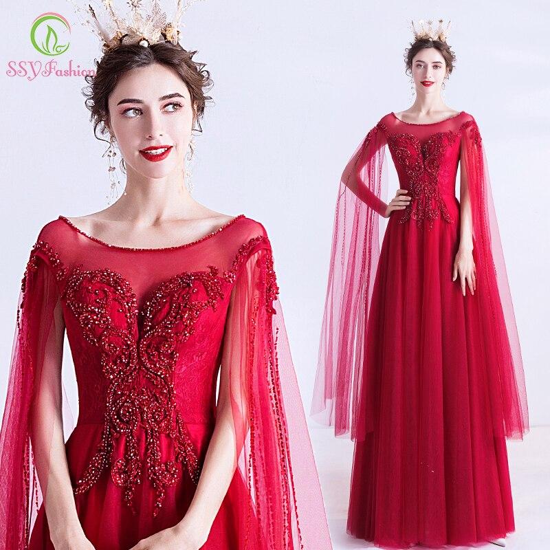 SSYFashion New Luxury Red Evening Dress Scoop Floor-length Sequins Beading Bride Banquet Elegant Formal Gown Vestido De Noche