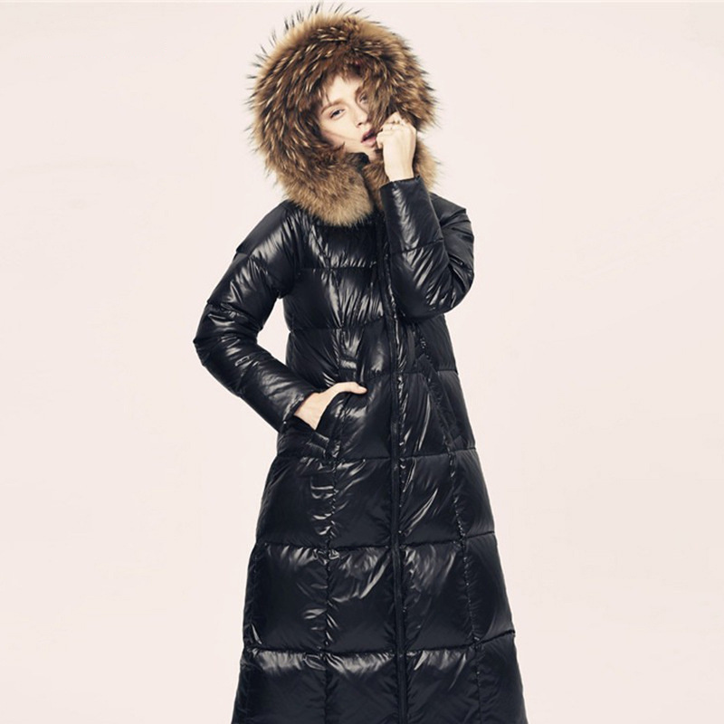 Quality Big Fur Collar Down Coat Women 2019 Winter Parkas Overcoat Casual Long Coat Fenimine Warm White Duck Down Plus SizeS-6xl